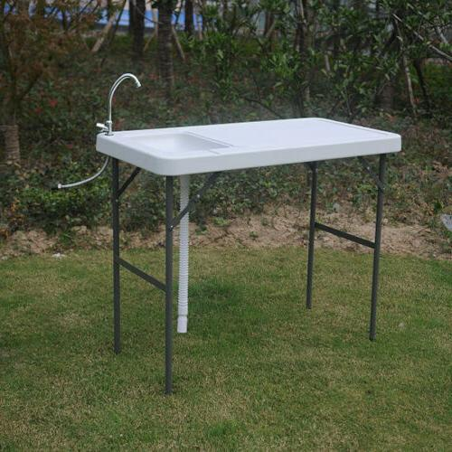 Folding Fish & Cutting Table with Sink