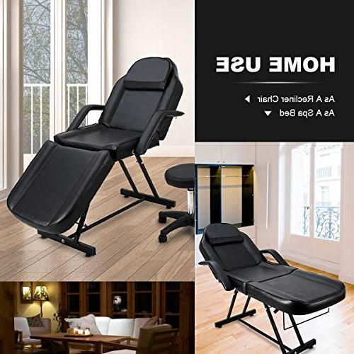 """Giantex Table Bed with Stool, Portable 73"""" Tables for Barber Beauty, Updated and Chairs, Black"""