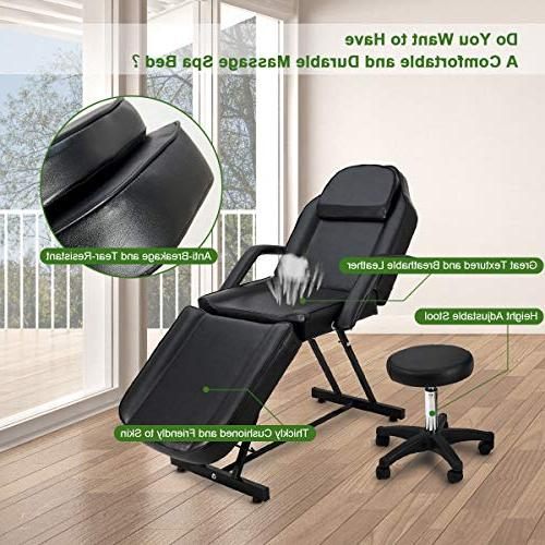 """Giantex Table Bed Chair for with Stool, Portable 73"""" Salon Tables Beauty, Facial and"""