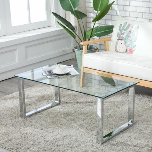 Modern Glass Chrome Table w/ Shelves Furniture