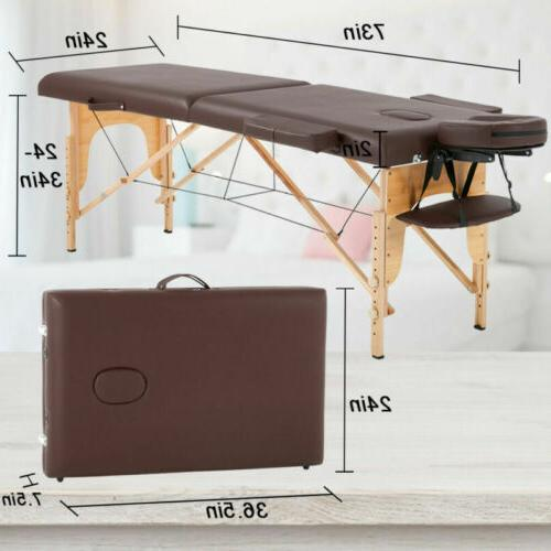 """New Table Bed 73"""" Long 2 W/ Carry Case,Brown"""