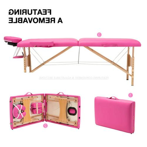 """84""""L 2 Massage Table Facial SPA Beauty Carry Case Pink"""