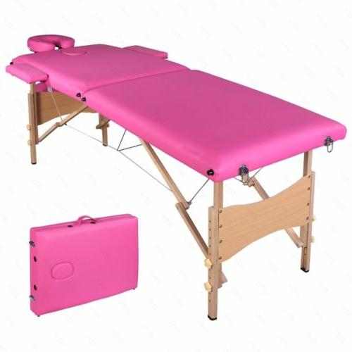 "84""L Pink Fold Massage Table SPA Beauty"
