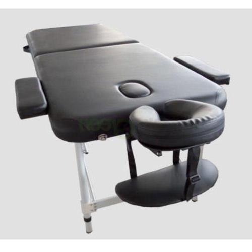 Portable 2 Massage Table Beauty Bed Aluminum Frame Balck