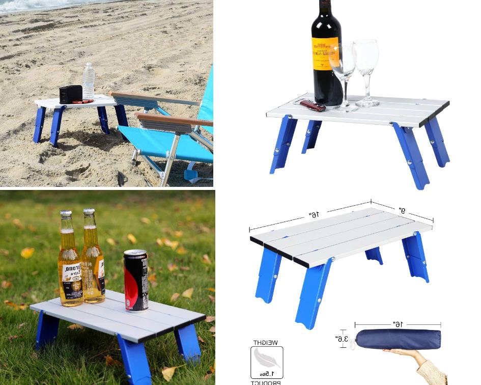 Portable Beach Table Folding & Carry Blue Bag Easy to Carry