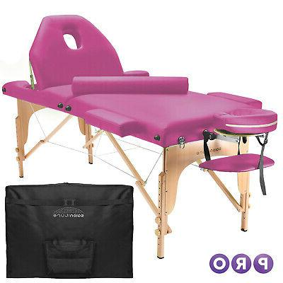 portable hot pink massage table with bolster