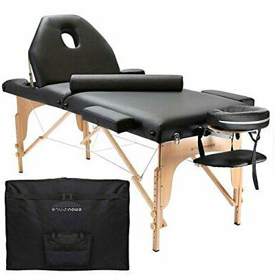 professional portable massage table with backrest black