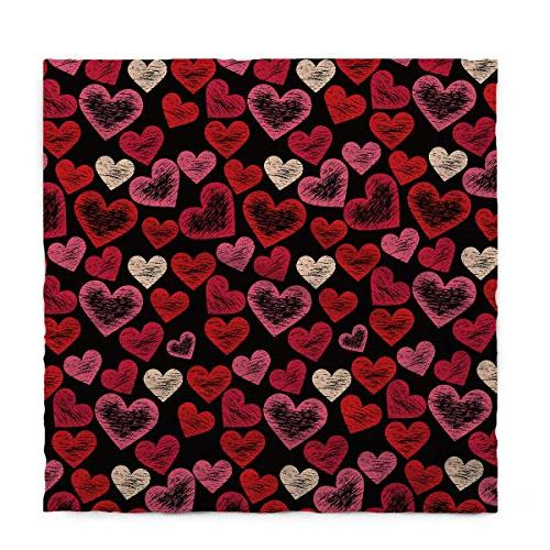 Rectangle Polyester Drawn Sketch Hearts Pattern Valentine's Tablecloths Machine Washable Table Decorative Table Kitchen 60 x 120 Inch