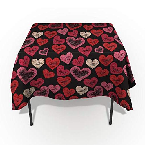 rectangle polyester tablecloth hearts pattern