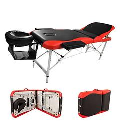 "Massage Aluminum Table Portable Facial Bed 84""L 3 Fold W/ Sh"