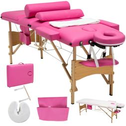 Portable 3 Folding Massage Facial SPA Bed 2 Pillows&Cradle&S
