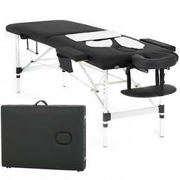 Massage Table Heigh Adjustable 2 Fold W/Face Cradle 73'' Por