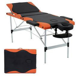Massage Table Heigh Adjustable 3 Fold W/Face Cradle 84'' Por