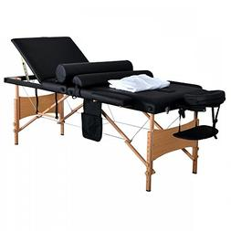 "Massage Table Portable Facial Bed 84""L 3 Fold W/ Sheet Bolst"