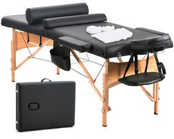 Massage Table Portable Facial SPA Bed W/Sheet+Cradle Cover+2