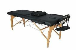 "massage table with 2"" regular foam in black w 2 half-bolster"