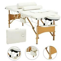 "New 84"" 3 Pad Massage Table White Folding Facial Spa Bed Tat"