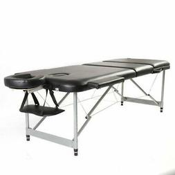 New Aluminum 3 Fold Massage Table Facial SPA Bed Tattoo w/Fr