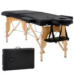 "New Black 73"" Portable Massage Table w/Free Carry Case Chair"