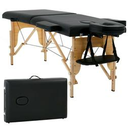 """New Massage Table Spa Bed 73"""" Long Portable 2 Folding W/ Car"""