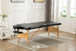 "NEW! Merax New Black 84"" Portable Massage Table PU leather S"