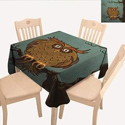 longbuyer Owl Tassel Tablecloth Exhausted Hangover Tired Owl