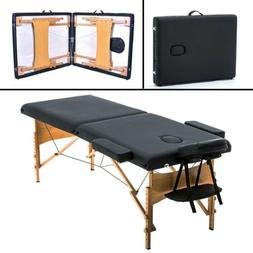 "BestMassage 2"" Pad 73"" Black Massage Table Free Carry Case B"