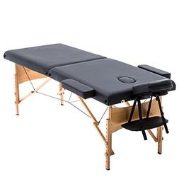 """2"""" Pad 84"""" Black Massage Table Free Carry Case Bed Spa Facia"""