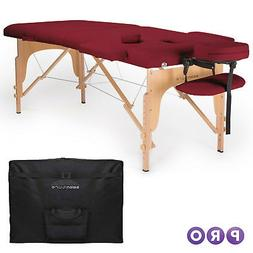 "2"" Pad 84"" Black Portable Massage Table w/Free Carry Case Ch"