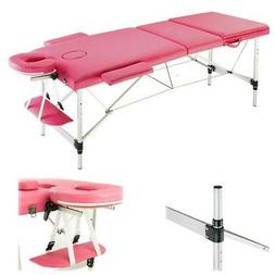 "Pink 84""L Fold Portable Massage Table Tattoo Facial SPA Beau"