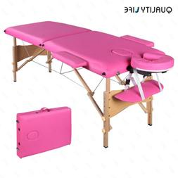 "84""L Pink Fold Portable Massage Table Facial SPA Beauty Bed"