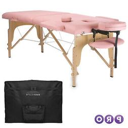pink portable massage table with carrying case