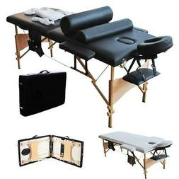 "Portable 84""Massage Table Fold Facial SPA Bed w/2 Pillows+Cr"