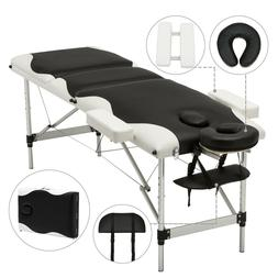 Aluminum 3 Foldable Massage Table Facial SPA Bed Tattoo with