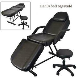 Portable Black Massage Bed Tattoo Salon Chair SPA Facial Tab