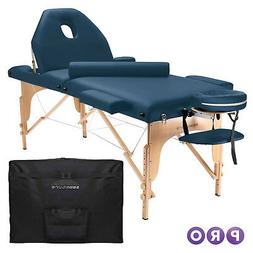 portable blue massage table with bolster
