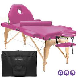 Portable Hot Pink Massage Table with Bolster and Tilt Backre