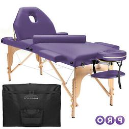 portable lavender massage table with bolster