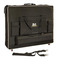 """Portable Massage Table 30"""" Wheeled Carrying Case, 4 Storage"""