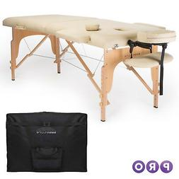 Portable Massage Table & Backrest Sturdy Hardwood Frame PU L