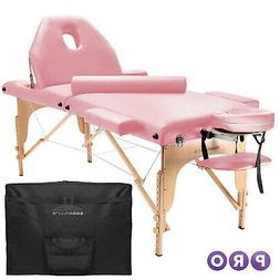 Portable Pink Massage Table with Bolster and Tilt Backrest