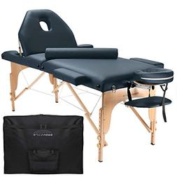 professional portable massage table with backrest blue