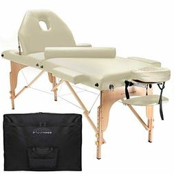 Professional Portable Massage Table with Backrest - Cream