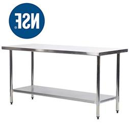 BestMassage Metal Kitchen Work Table with Adjustable Table F