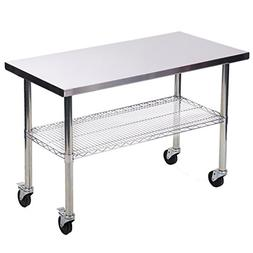 Stainless Steel Kitchen Work Table w/ Wire Lower Shelf and W