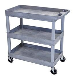 "Luxor 32""W x 18""D Mobile 3 Shelf Utility Storage Tub Cart -"