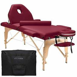 Two Fold Burgundy Portable Massage Table - PU Leather High Q