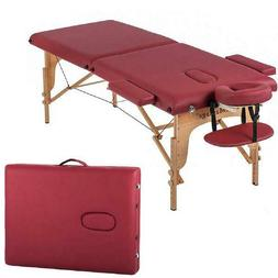 two fold burgundy portable massage table