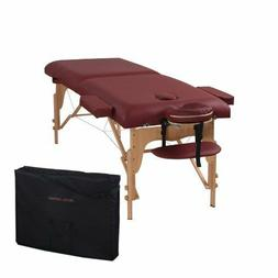 Heaven Massage Two Fold Burgundy Portable Massage Table - PU