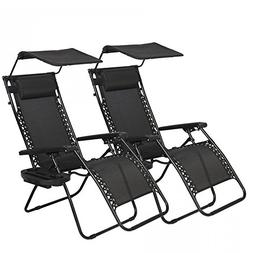 BestMassage 2 PCS Zero Gravity Chair Lounge Patio Chairs wit